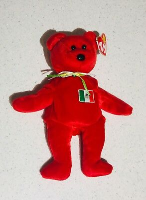 1a2d01d4272 TY BEANIE BABY RED OSITO Bear Mexico w  Tag ERRORS Plush Toy RARE PE ...