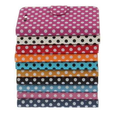 Hot Polka Dots Stand Leather Flip Case Cover For Apple Iphone 5 HY