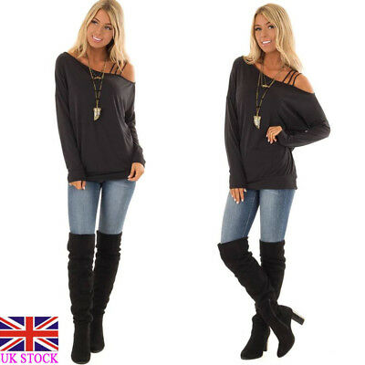 UK Womens Blouse Ladies Sexy Casual Off-the-shoulder Long Sleeve Tops T-Shirt