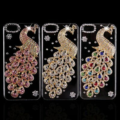 Fashion Peacock Alloy Shining Crystal Back case Cover Skin For iphone 5S HY