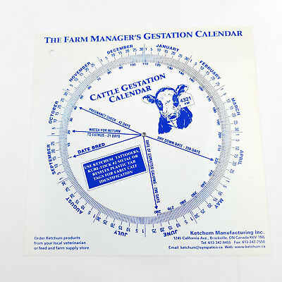 The Farm Manager's Cattle Gestation Calendar Ketchum Manufacturing Plastic