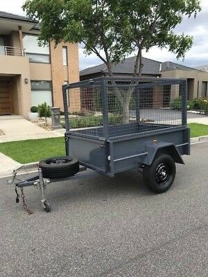 Trailer 6x4 Caged  deep sides, awning opening cage checker plate - MUST SELL