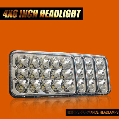 """DOT 4x 4""""x6"""" 45W LED Headlights Sealed Beam Xenon HID Halogen Bulb Replacement"""