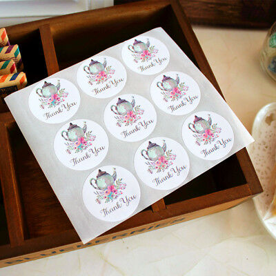 54 Pcs Teapot Garland Blossom Thank You Stickers Seal the envelope and gift box