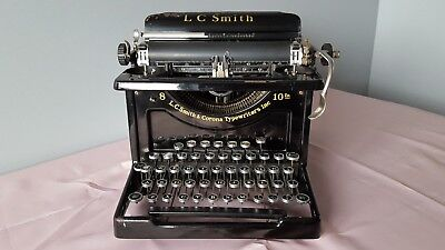 "LC Smith & Corona Typewriter Vintage ~ 1920's Black, Model 8 with 10"" Carriage"