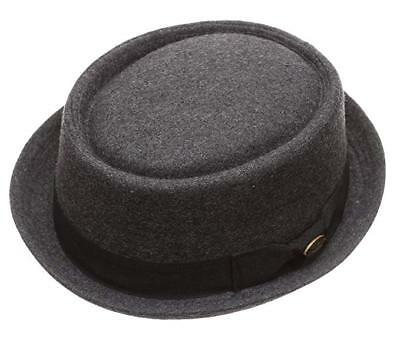 Men s Wool Porkpie Stingy Brim Round Top Fedora Hat Breaking Bad Charcoal  EF1678 716987d7fcbe