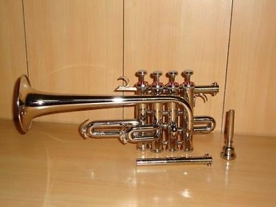 """VALUEABLE!!! BRAND NEW""""SILVER-NICKEL-PLATED Bb/A PICCOLO TRUMPET+FREE CASE+M/P"""