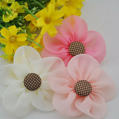 9pcs New Organza Ribbon Flowers Bow Wedding Decor Sewing Appliques Crafts F147