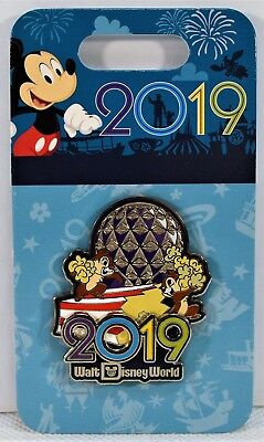 Walt Disney Parks Exclusive 2019 Chip & Dale & Epcot Spaceship Earth 3-D Pin NEW