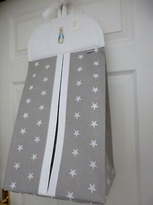 Unique Baby Nappy Stacker Grey/White Star 'PETER RABBIT' Nursery Shower Gift NEW