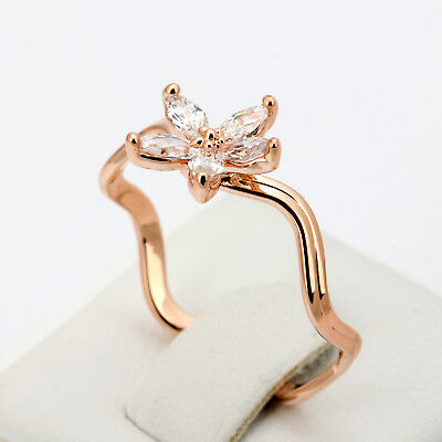 18K Rose Gold Plated Delicate Cubic Zirconia Flower with Curved Band Finger Ring