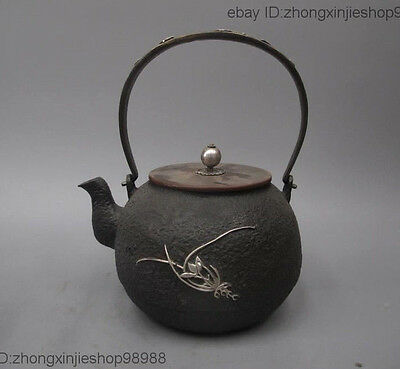 Archaic Japan Iron Silver Orchid Flower 静心清志 Flagon Kettle Wine Tea Pot