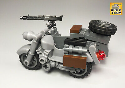 WW2 German motorcycle with sidecar custom brick for minifigure by Buildarmy®