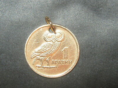 20Mm Greek Greece Athena Wisdom Owl Vf Coin Gold Tone Charm Pendant Necklace