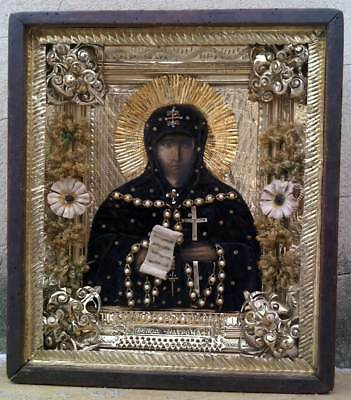 """Antique 19c Russian Orthodox Hand Painted Wood Icon ""Holy Matrona"" RAR!"