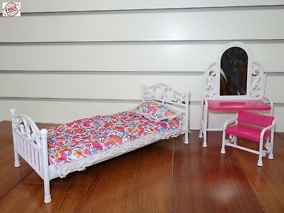 New Dollhouse Furniture Bedroom Beauty Play Set Bed Vanity Chair Table