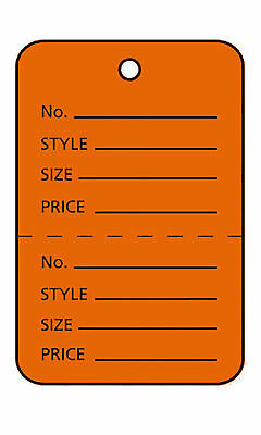 "1000 Perforated Tags Price Sale 1 ¼ x 1 ⅞"" Two Part Orange Unstrung Tag Small"