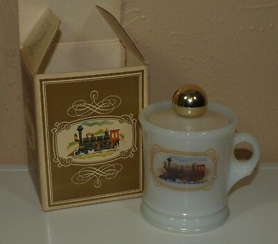 Vintage NOS Avon SHAVING MUG w/ Train Graphic MILK GLASS w/ Box