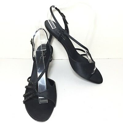 89ad3678cfb Women s Touch of Nina Black Strappy Beaded High Heel Dress Sandals Size 9 M
