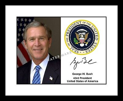 George W. Bush 8x10 Signed Photo Print with Presidential Seal Autograph Picture