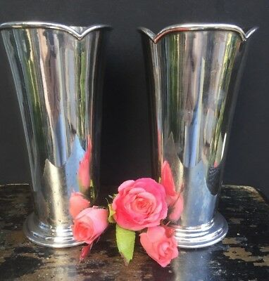 Pair Of Antique English Silver Plate Vases