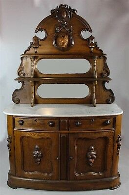 American Rococo Oak Or Chestnut Marble Top Buffet With Fox Head