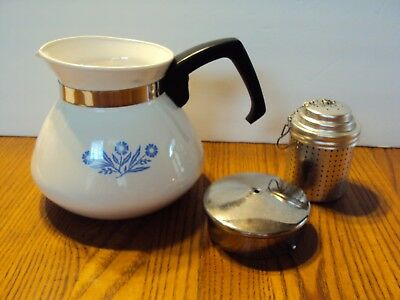 Corning Ware Cornflower Tea Pot With Lid 6 Cup With Seep See Details
