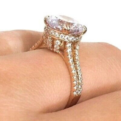 Luxury 3 Ct Diamond Solitaire Ring Wedding Engagement Jewelry Gold Plated