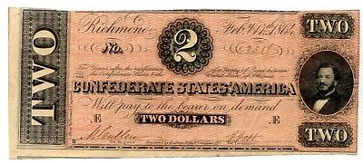 T-70 1864 $2 Confederate Currency - Series Feb. 17th 1864
