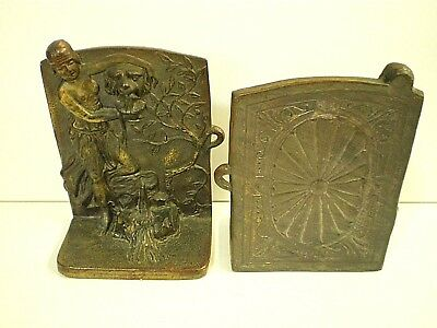 """ANTIQUE Vtg WHIMSICAL Unique UNUSUAL Small (5"""" X 4"""") SOLID Cast Bronze BOOKENDS"""
