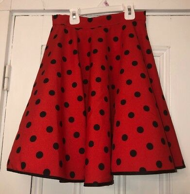 Girls Red Black Disney Bound Polka Dot Vintage Skirt  Button Waist * Read*