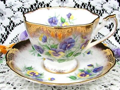 Queen Anne Country Gardens Purple Yellow Pansy Gold Tea Cup & Saucer