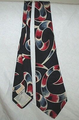 1950's ROCKABILLY Navy Blue/Red Swirls DESMOND'S PALM SPRINGS 100% Silk TIE