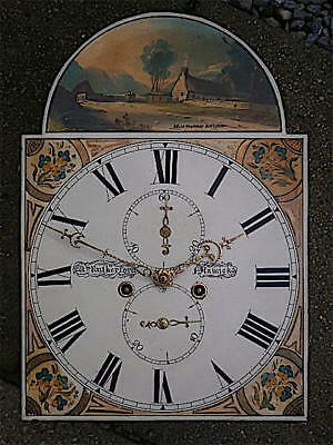13X18+1/4  inch 8DAY   c1830 LONGCASE   CLOCK dial + movement