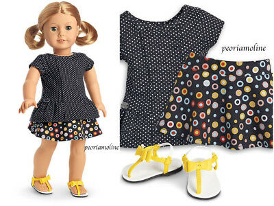 American Girl DOT SKIRT OUTFIT~ Truly Me~Polka Dots Sandals NEW Easter