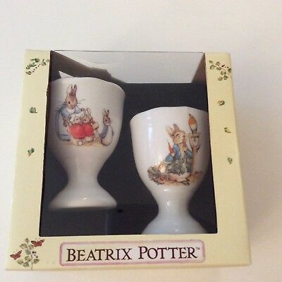 Beatrix Potter - Peter Rabbit  - 2 Eierbecher mit Goldrand, Reutter Porzellan