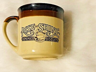 Vintage Hardees Rise And Shine Homemade Biscuits Coffee Cup Mug Cracked Side