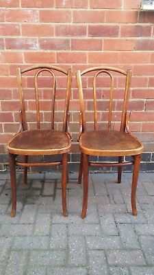 Rare Pair of Vintage Polish Made Antique Thonet Bentwood Chairs