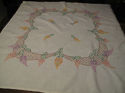 Vintage Linen Tablecoth Lilac flowers Hand Embroidered Table Cloth