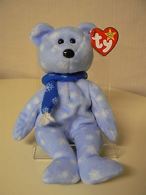 Ty Beanie Baby 1999 HOLIDAY TEDDY Bear Plush Blue with Snowflakes Scarf