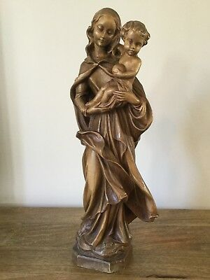 Antique Black Forest Figure Of Madonna & Child, Antique Treen Statue