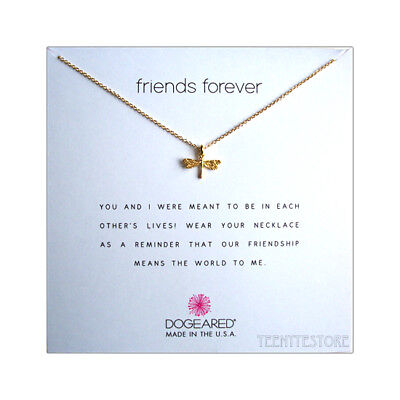 """Dogeared 14K Gold Plated DRAGONFLY & 16""""+2"""" Chain FRIENDS FOREVER Necklace Boxed"""