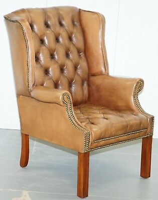 Vintage Brown Leather Button Base & Back Chesterfield Wingback Fireside Armchair