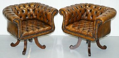 1 Of 2 Restored Victorian Brown Leather Chesterfield Office Club Chairs Armchair