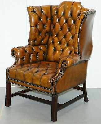 Georgian H Framed Chesterfield Fully Buttoned Wingback Brown Leather Armchair