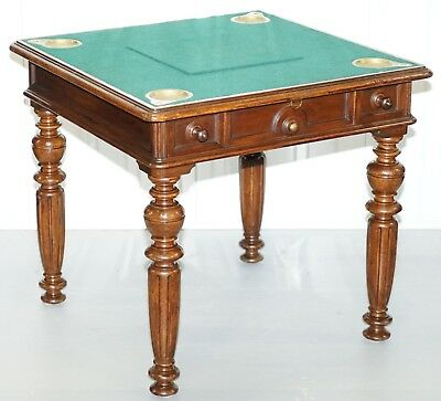 Rare Victorian Games Table Circa 1840 Drop Middle Secret Drawers And Buttons