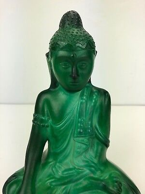 Bohemian Czech Curt Schlevogt Art Deco Cut Green Glass Buddha