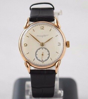 Antique IWC Solid Gold 18K Military Swiss Mechanical Wristwatch Porcelain Dial