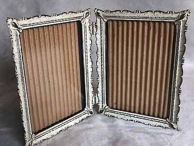 Vintage Ornate Floral Metal Whitewashed Double Hinged Picture Frame - 5 x 7""