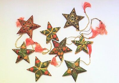 """8 Star Christmas Tree Ornaments Multi Colored Paper Mache Hand Painted 4"""" Decor"""
